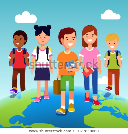 Kids Girls School Bags Geography Illustration Stock photo © lenm