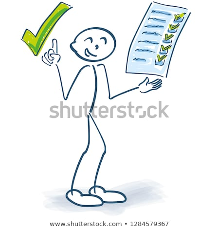 stick figure with clipboard checks a checklist and makes a green tick on it stock photo © ustofre9
