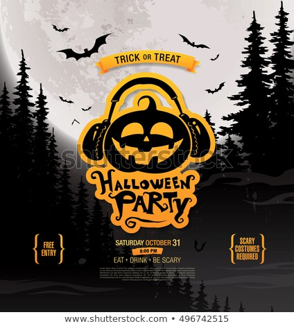 halloween party poster with monster heads vector illustration stock photo © vicasso