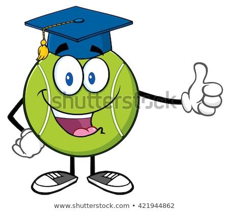 счастливым теннисный мяч мультфильм талисман характер выпускник Cap Сток-фото © hittoon