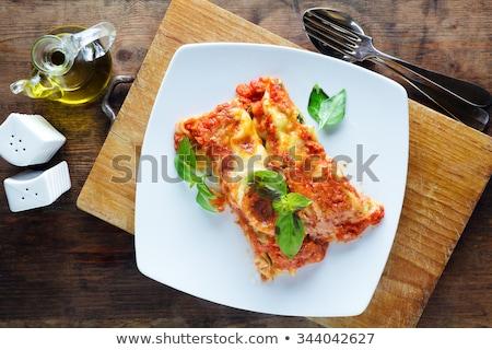 pasta · relleno · blanco · placa · queso · Shell - foto stock © Alex9500