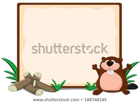 A beaver on border template Stock photo © bluering