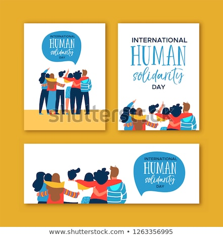 Human Solidarity banner of happy friend group hug Stock photo © cienpies