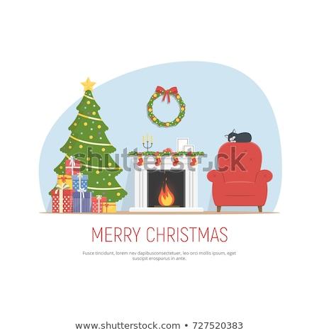 dekore · edilmiş · Noel · oda · şömine · kırmızı - stok fotoğraf © IvanDubovik