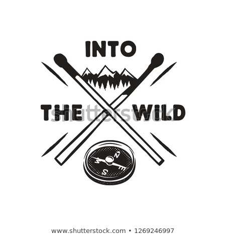 Into the Wild - Outdoors Adventure Badge with mountains, compass, matches symbols. Nice for camping  Stock photo © JeksonGraphics