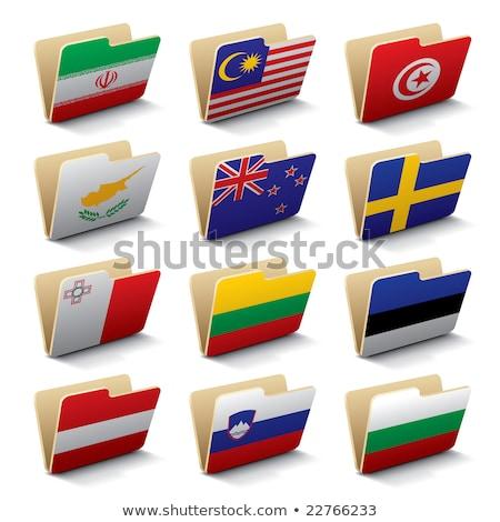 Mappa zászló Észtország akták izolált fehér Stock fotó © MikhailMishchenko