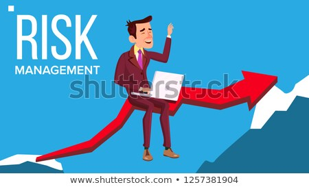 Risk Management Vector. Businessman Sitting With Laptop On Red Arrow Like Bridge Between Two Rocks.  Stock photo © pikepicture