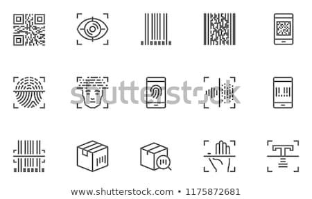 Vecteur ligne empreintes scanner icône Photo stock © MarySan