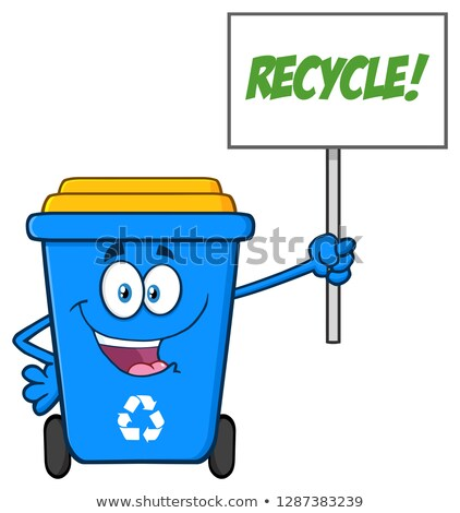 Blue Recycle Bin Cartoon Mascot Character Holding Up A Recycle Sign Stock photo © hittoon