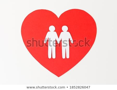 мужчины пару белый бумаги пиктограммы красный Сток-фото © dolgachov