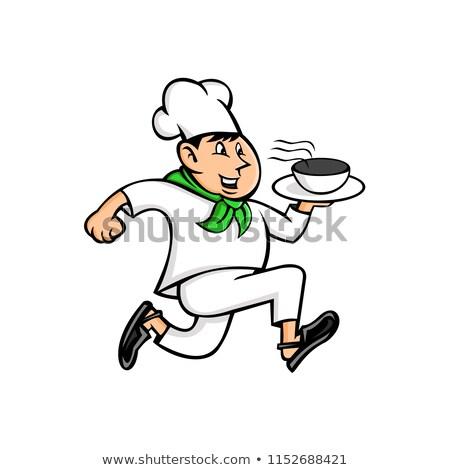 Running Chef Serving Fast Food Mascot Stock photo © patrimonio