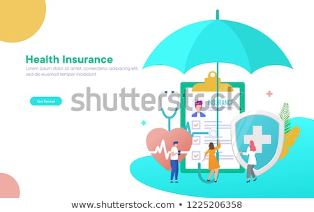 isometric flat vector landing page template of health insurance policy stock photo © tarikvision