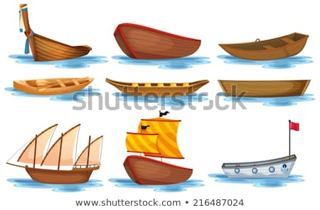 cartoon · roeien · boot · hout · ontwerp · kunst - stockfoto © robuart