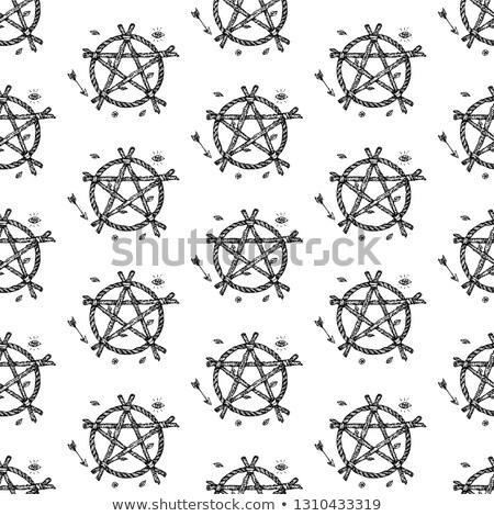 dotwork witch pentagram seamless pattern stock photo © anna_leni