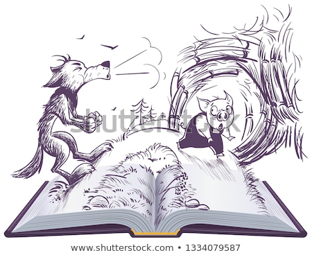 Three pigs fairy tale open book illustration. Wolf blowing broke house Stock photo © orensila