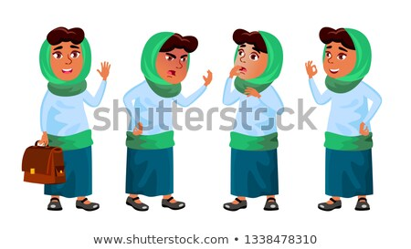 Arab, Muslim Girl Set Vector. Primary School Child. Education. Educational, Auditorium, Lecture. For Stock photo © pikepicture