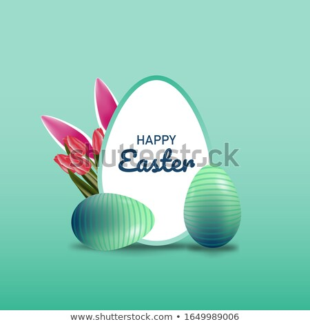 easter sale illustration with color painted egg spring flower and rabbit ears on colorful backgroun stock photo © articular