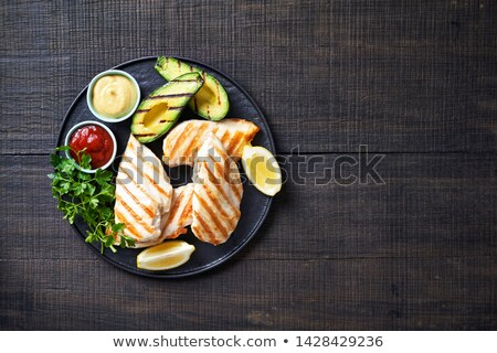 Grilled chicken breast on the wooden tray Stock photo © Alex9500