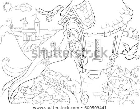 Princess okno obraz kobieta kwiaty twarz Zdjęcia stock © clairev