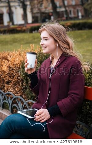 Boldog diákok táblagép kávé kint oktatás Stock fotó © dolgachov