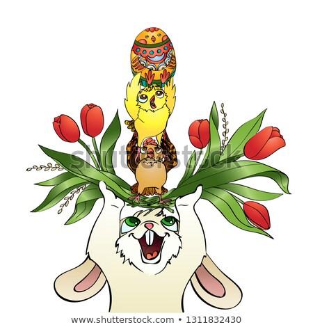 pionowy · wektora · cartoon · kartkę · z · życzeniami · Wielkanoc · cute - zdjęcia stock © heliburcka