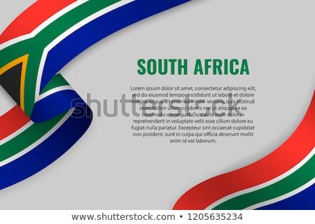 Südafrika Flagge weiß Hintergrund Welle Freiheit Stock foto © butenkow