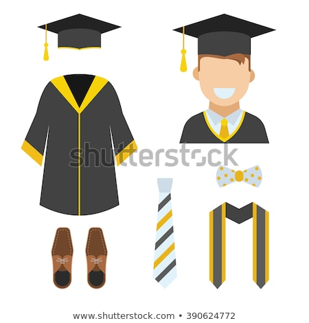Set of man wearing graduation gown Stock photo © bluering