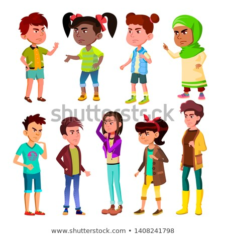Character Children And Teenager Blowout Set Vector Stock photo © pikepicture