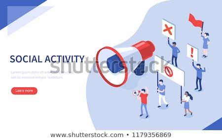 Greve ação pessoas multidão trabalhadores Foto stock © RAStudio