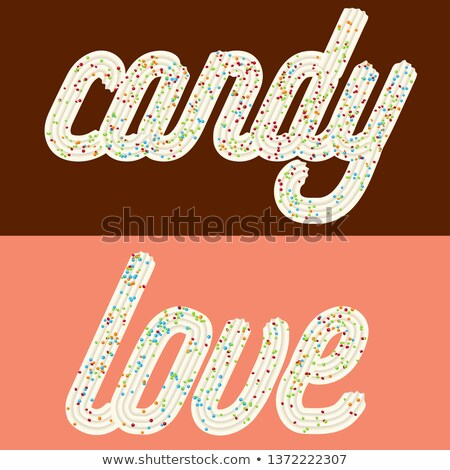 Tentant typographie cerise texte mots bonbons Photo stock © balasoiu
