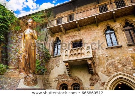 Erkély Verona Olaszország kilátás épület 1930-as évek Stock fotó © boggy