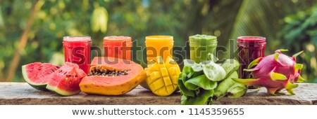 Ananas iki yüzlü taze ahşap masa afiş uzun Stok fotoğraf © galitskaya
