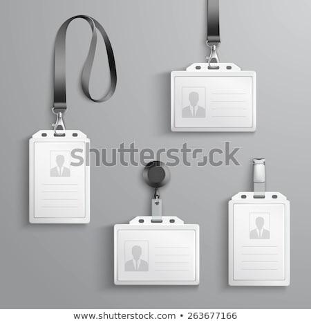Műanyag személyi igazolvány kitűző narancs kábel izolált Stock fotó © netkov1