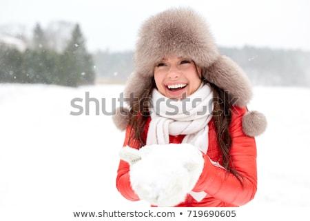 heureux · femme · neige · hiver · fourrures · chapeau - photo stock © dolgachov