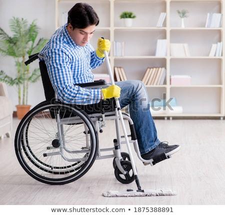 Discapacidad hombre limpieza piso casa casa Foto stock © Elnur