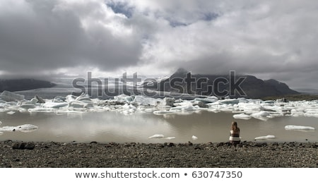 Travel in arctic landscape nature with icebergs - Greenland tourist man explorer Stock photo © Maridav