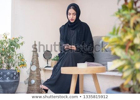 Stock fotó: Muszlim · nők · okostelefon · osztás · nevet · iroda