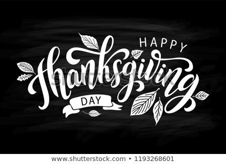 счастливым благодарение день черный почерк изолированный Сток-фото © MarySan