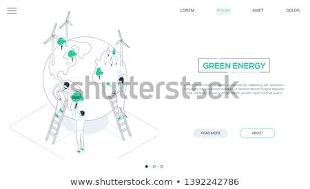 Groene energie lijn ontwerp stijl isometrische web Stockfoto © Decorwithme