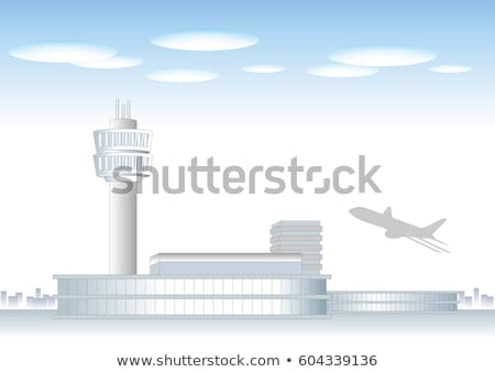Airport Building, Plane on Runway Vector Image Stock photo © robuart