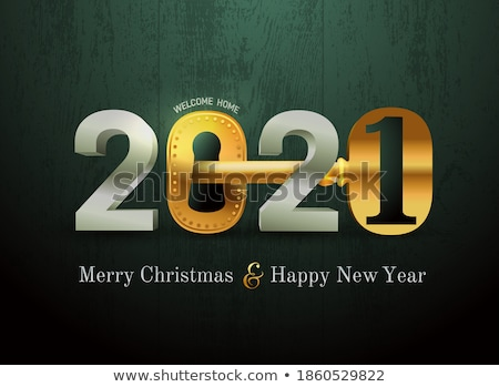 christmas and new year card of gold holiday city stock photo © cienpies