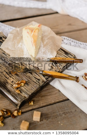 Fresh baked tasty homemade apple pie cake with ingredients on side Stock photo © dash