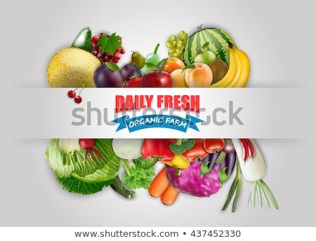 Sebze afiş vektör gerçekçi avokado patlıcan Stok fotoğraf © frimufilms