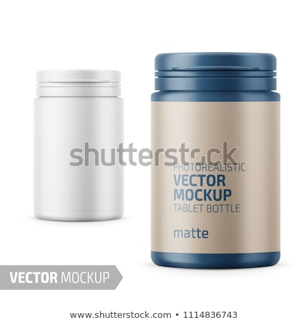 Small white plastic bottle with lid Front view 3D Stock photo © djmilic