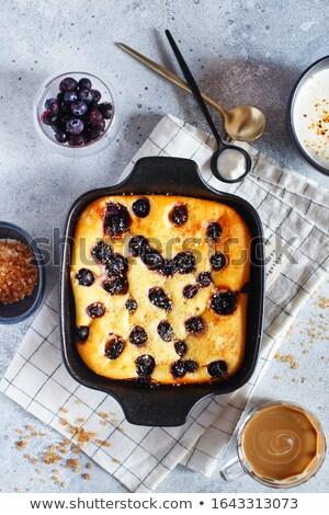 Breakfast of baked curd dessert berries and fruits Stock photo © ElenaBatkova