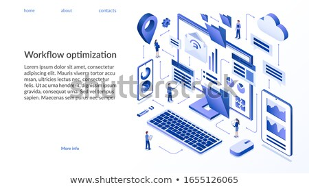 Iş süreç yönetim iniş sayfa işadamları Stok fotoğraf © RAStudio