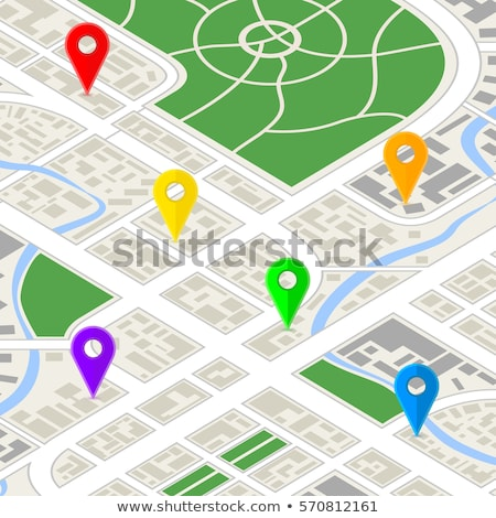 Detailed city map in isometric view with colourful GPS pins Stock photo © evgeny89