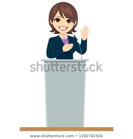 Politikus nő pódium ígéret gyönyörű felnőtt Stock fotó © Kakigori