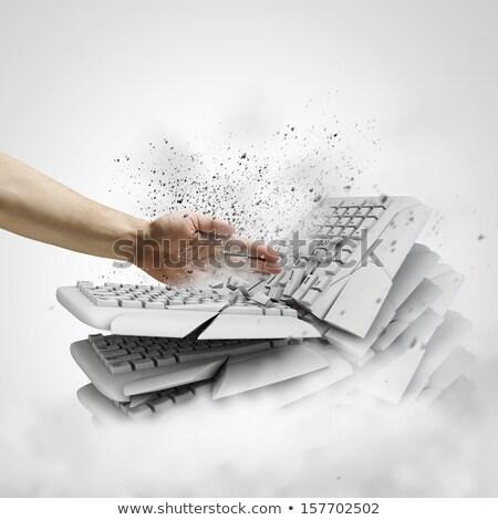 őrült · üzletember · kulcs · üzlet · kéz · arc - stock fotó © photography33
