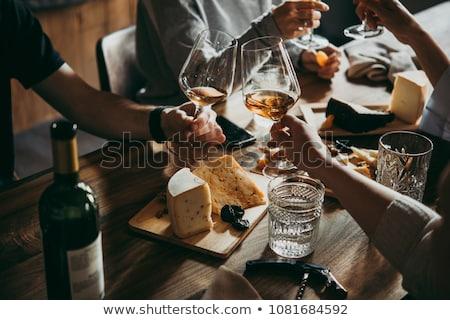 bor · sajt · fehérbor · fehér · étel · ital - stock fotó © M-studio
